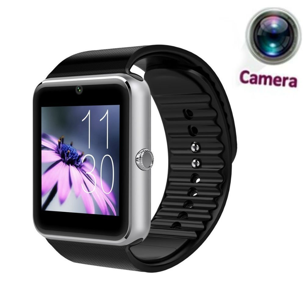 Hangang GT08 Bluetooth Smart Watch Support SIM & TF Card Phone Smartwatch Notification Reminder Sleep Monitor Fitness Wristwatch for IOS Android (silver)