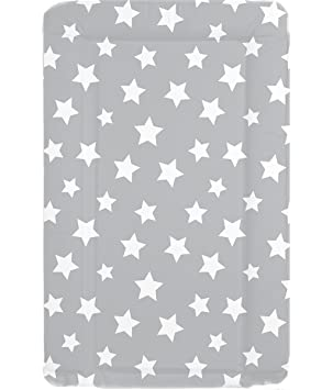 55eb31ac718a Deluxe Unisex Baby Waterproof Wipeable Changing Mat with Raised Edges - Grey  with White Stars: Amazon.co.uk: Baby