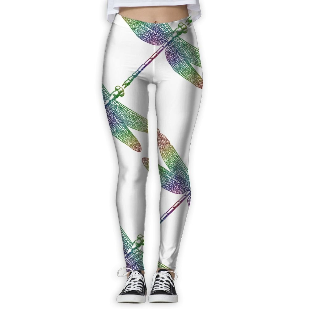 Dragonfly Drawing Elastic High Waist Yoga Leggings For Women ...