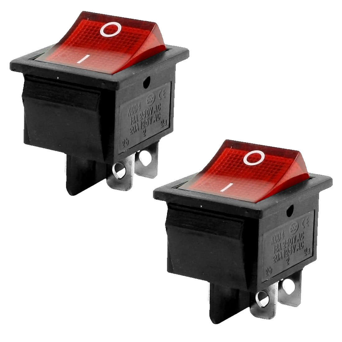 GLE2016 15A/250VAC 20A/125VAC Red Light 4 Pin ON/OFF DPST Rocker ...