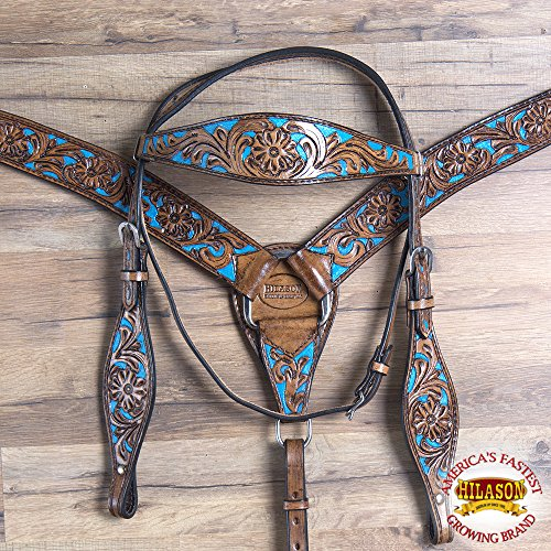 - HILASON Western American Leather Horse Headstall Breast Collar Antique Turquoise