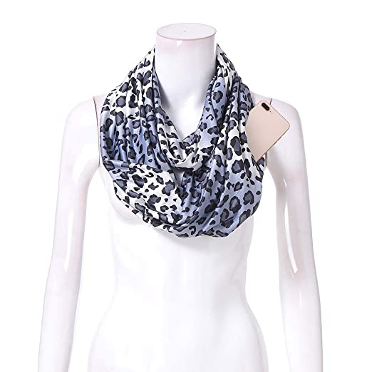 4d16709fb Women Infinity Scarf Soft Leopard Shawl Wrap Loop Scarf with White Zipper  Pocket, Infinity Scarves (Multicolor -B, Free Size:180X50cm) at Amazon  Women's ...