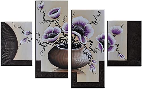 Noah Art-Romantic Flower Art, Blooming Tulips in a Vase Flower Picture 100 Hand Painted Contemporary Oil Paintings of Flowers On Canvas, 4 Panel Framed Purple Floral Wall Art for Bedroom Wall Decor