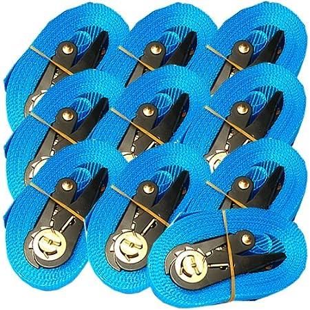 10 SPANNGURTE mit ZURRRATSCHE 6 m 0, 8 t EN-12195-2 Zurrgurte 6m (Schwarz) MGS SHOP®