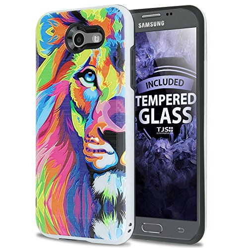 Price comparison product image For Samsung Galaxy J3 Emerge Case, Galaxy J3 Prime Case, Amp Prime 2 Case, Express Prime 2 Case, with TJS [Tempered Glass Screen Protector] Hybrid Shockproof Resist Case Metallic Brush Finish (Lion)