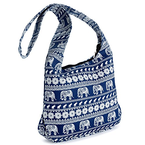 White amp; Blue Print Cross Body Messenger Shoulder Tribal Elephant Bag Slouch HOqw65
