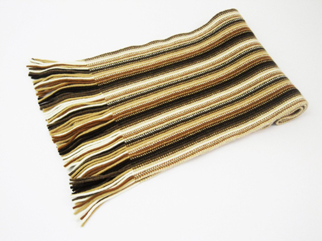 Oxfords Cashmere 2 ply Pure Cashmere Ladies Stripe Scarf, Camel-One Size