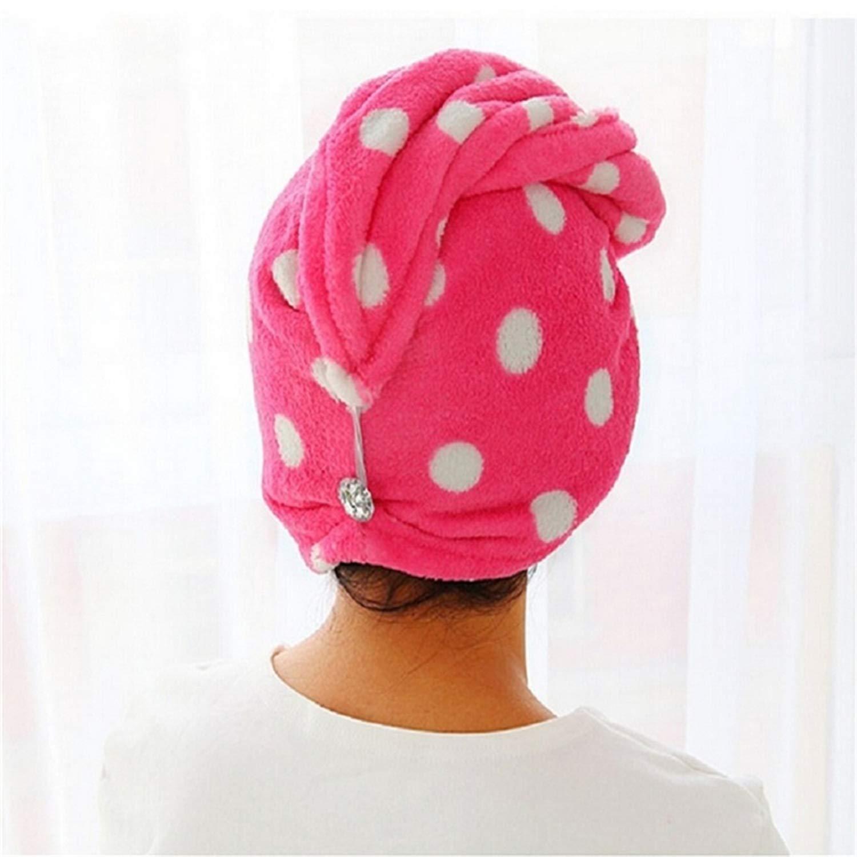 Toalla de ba/ño seco para Mujeres y ni/ñas para Maquillaje Turbante de Secado con bot/ón Talla /única Herramientas de ba/ño Azul para el Pelo PENVEAT cosm/éticos