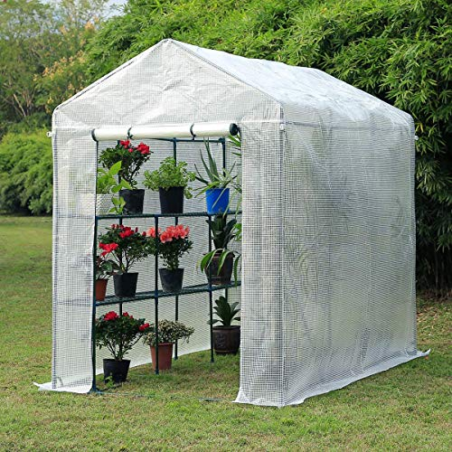 Mellcom 84″x 56″ x 77″ White Mini Walk-in Greenhouse,Indoor Outdoor Plant Gardening, 2 Tier 6 Shelves Hot House for Flowers, Plants and Vegetables