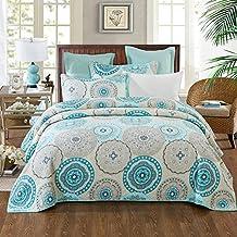 NEWLAKE 3 Pieces Quilt Bedspread Set, Blue Aqua Boho Medallion Pattern, Queen Size