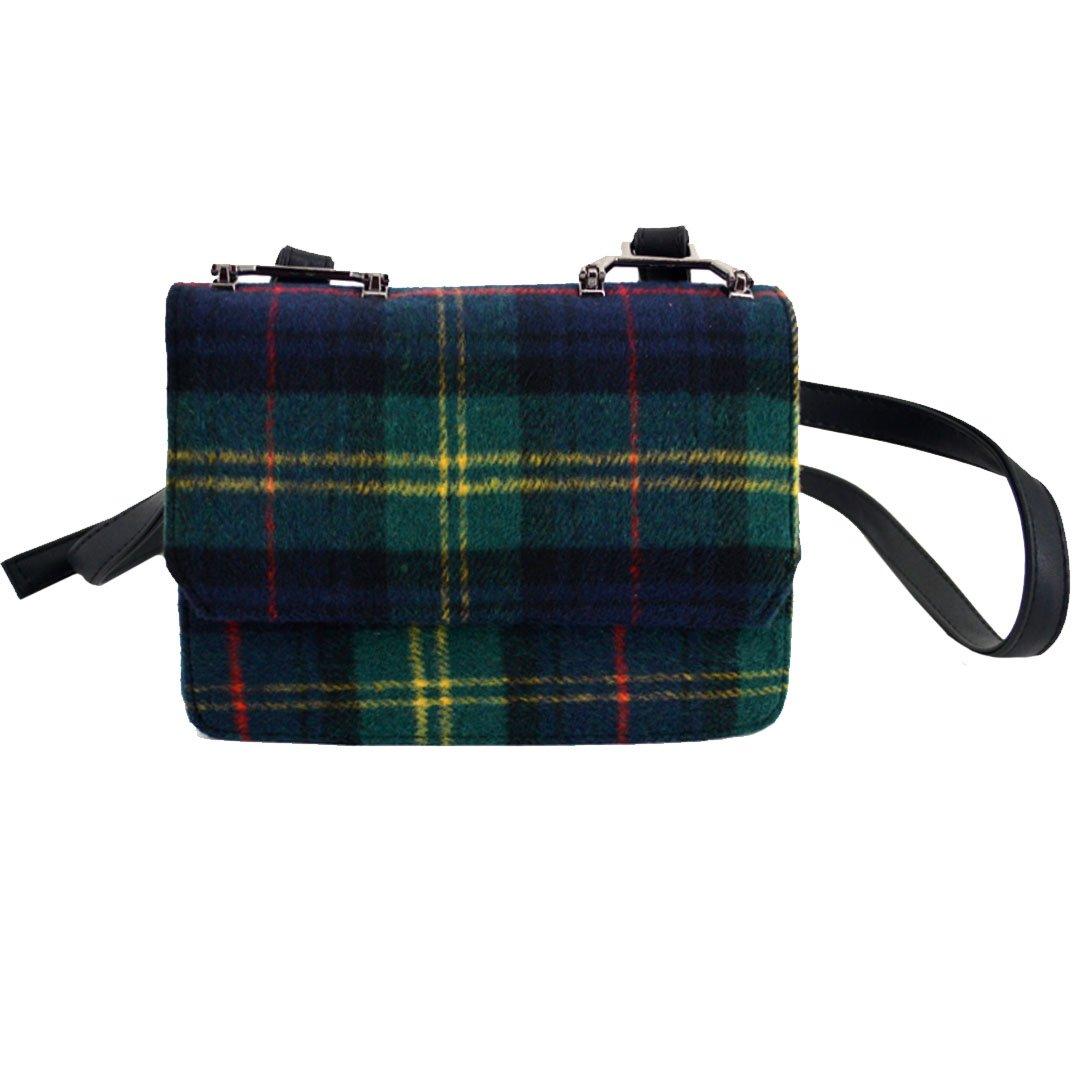Felice Women Vintage Check Plaid Flap Shoulder Messenger Bag Small Crossbody Bag Cellphone Pouch Satchel Purse (green)