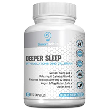 SmartHabits Deeper Sleep Natural Sleeping Aid with Melatonin and Valerian Root | Vegan | 60 Veg