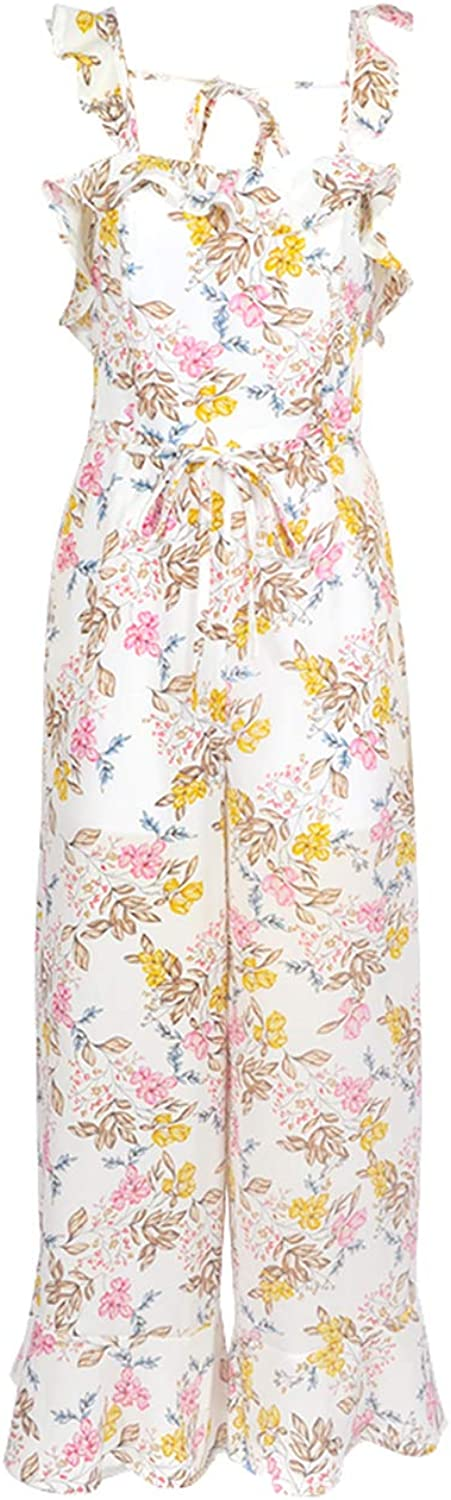 Rompers for Women Floral Jumpsuit Spaghetti Strap Wide Leg Long Pants