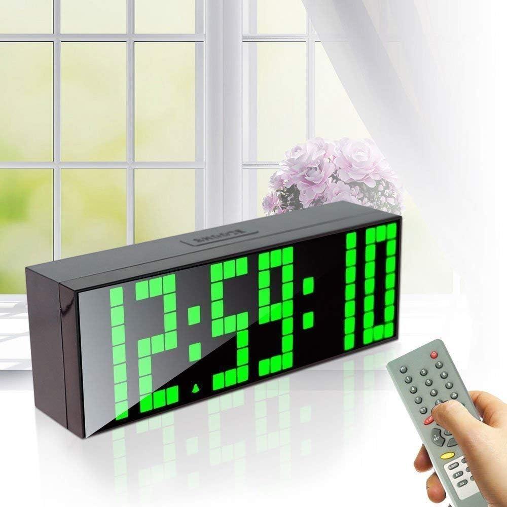 DLILI Reloj de Pared LED Grande con números Grandes, Pantalla LCD de 3 Pulgadas, Reloj Despertador con Cuenta Regresiva y Control Remoto (Azul)
