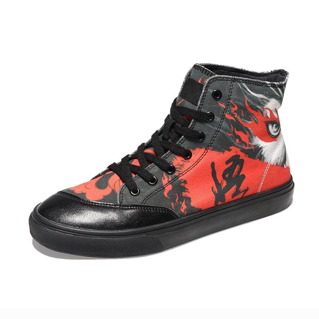 LIUXUEPING Graffiti Segeltuchschuhe Herrenschuhe Sommersaison Hohe Schuhe Freizeitschuhe Herren- und Damenschuhe Studenten Street-Dance-Schuhe