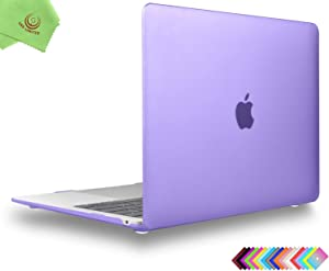 UESWILL Smooth Matte Hard Shell Case Cover for 2020 2019 2018 MacBook Air 13 inch Retina Display & Touch ID & USB-C Model A2179 A1932 + Microfiber Cloth, Purple