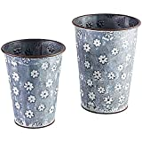 Set of 2 Planter Galvanized Metal Bucket Container Organizer for Flowers Succulent Air Decorative Plants Tools Kitchen Distressed Indoor or Outdoor White Flower Print (8.5'' & 7.5'')