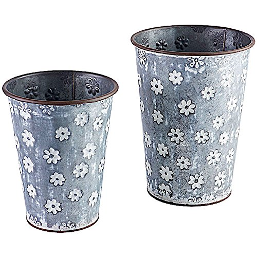 Set of 2 Planter Galvanized Metal Bucket Container Organizer for Flowers Succulent Air Decorative Plants Tools Kitchen Distressed Indoor or Outdoor White Flower Print (8.5