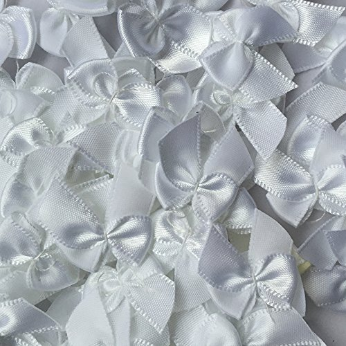 Chenkou Craft 60pcs Mini Satin Ribbon Bows Flowers 1quot x3/4quot Appliques DIY Craft White Color