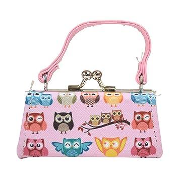 5228da4c9b2 Amazon.com : Owl Lipstick Case with Handle Kids Coin Mini Purse - Light Pink  : Beauty