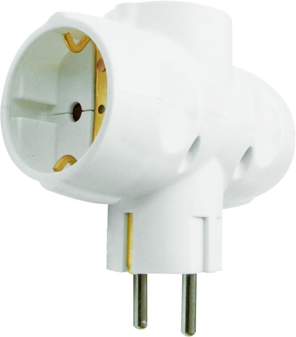 Garza Power - Adaptador Triple Lateral (3 Tomas Schuko) con toma de Tierra, formato Retráctil, color Blanco