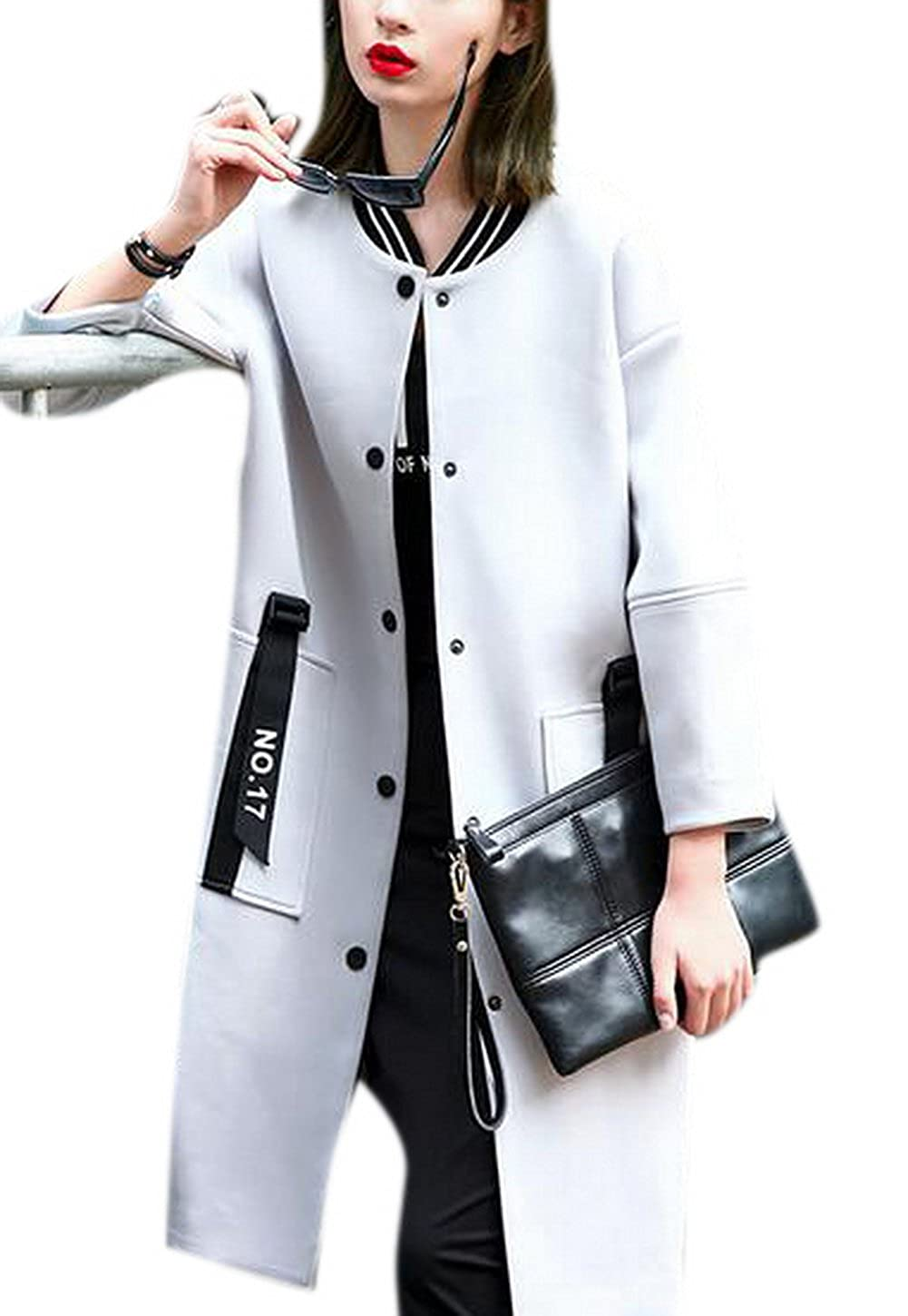 Lingswallow Womens Classic Button Down Long Jacket Trench Coat Cardigan