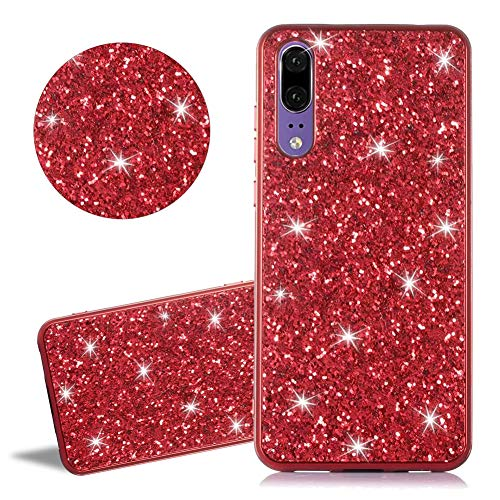 - Glitter Case for Huawei P20 [Not for Huawei P20 Pro],YiCTe Luxury Red Bling Diamond Rhinestone Sparkle Crystal Plating Edge Cover Shockproof Soft TPU Silicone Protective Case for Huawei P20