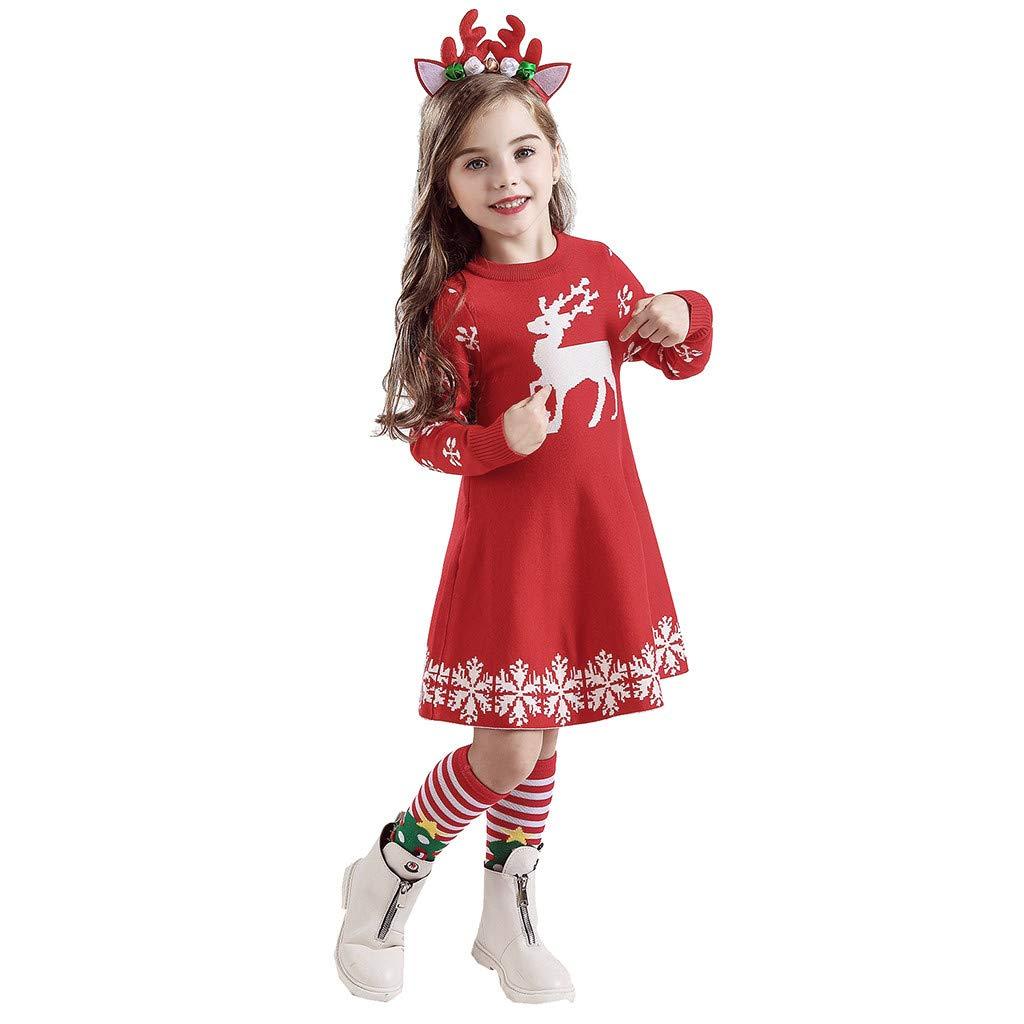 Deloito Weihnachten Babykleidung Kinder M/ädchen Langarm Gestrickte Pullover Tops Grundsch/üler Karikatur Hirsch Drucken Baumwolle Kleid Haarband Outfits