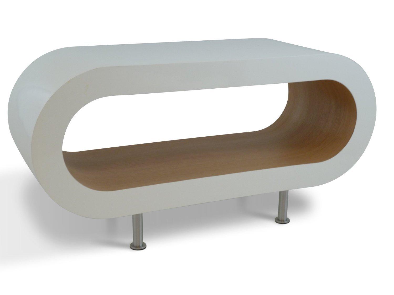 Medium retro white and oak 90cm hoop coffee table tv stand with medium retro white and oak 90cm hoop coffee table tv stand with feet amazon kitchen home geotapseo Images