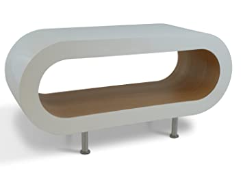Medium Retro White and Oak 90cm Hoop Coffee Table / TV Stand with Feet