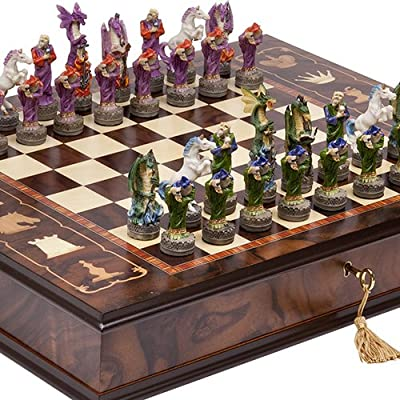 Fantasy Chessmen & Napoli Chess Board/Cabinet From Italy