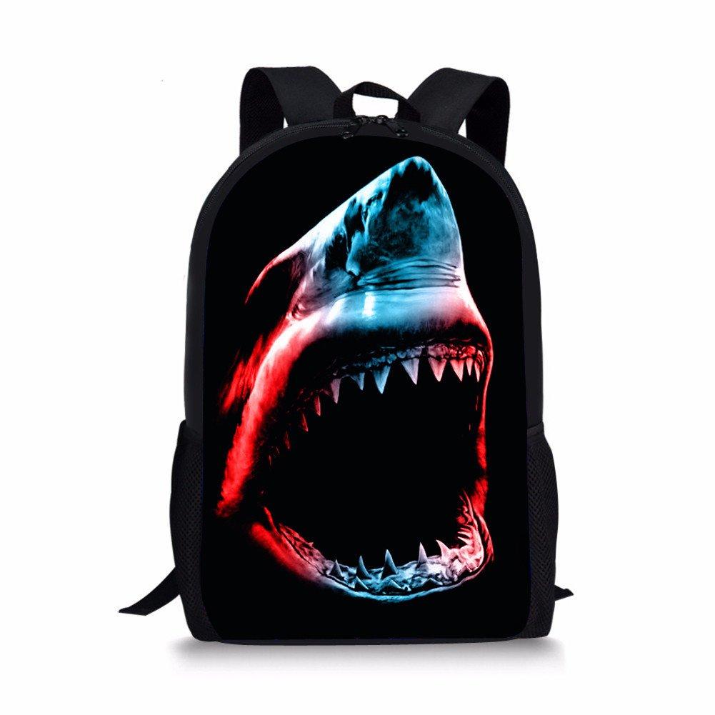 3d Shark Lightweight Travel School Backpack for Girls Teens Kids Boys