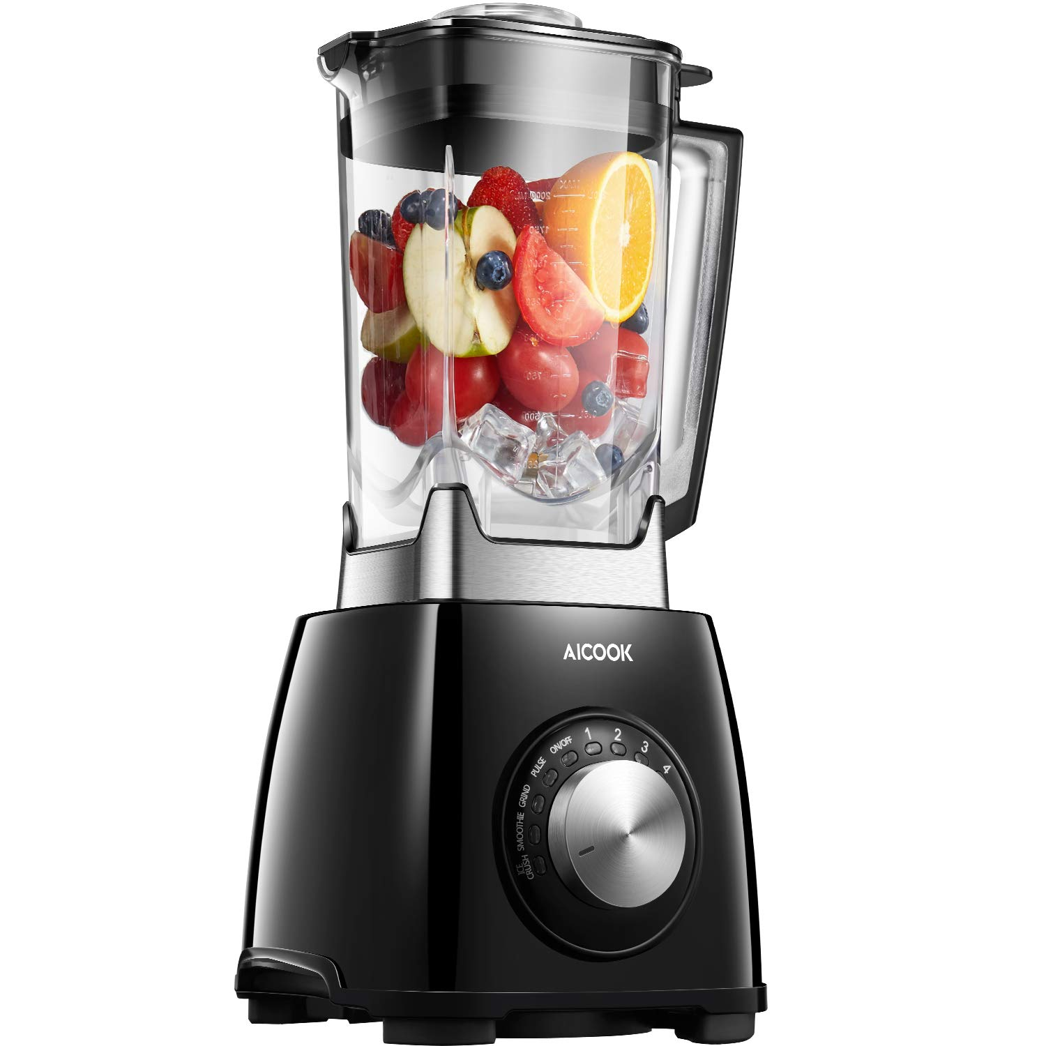 AICOOK Professional Countertop Blender for Shakes and Smoothies, 1450W High Speed Smoothie Blender for Ice Crushing Frozen Fruits, 4-Auto-iQ Programs, 72OZ Dishwasher Safe Jar NY-8668MJA
