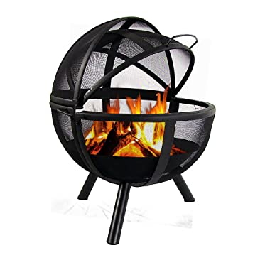 Sunnydaze Fire Pit Sphere Black Flaming Ball with Protective Cover, 30 Inch