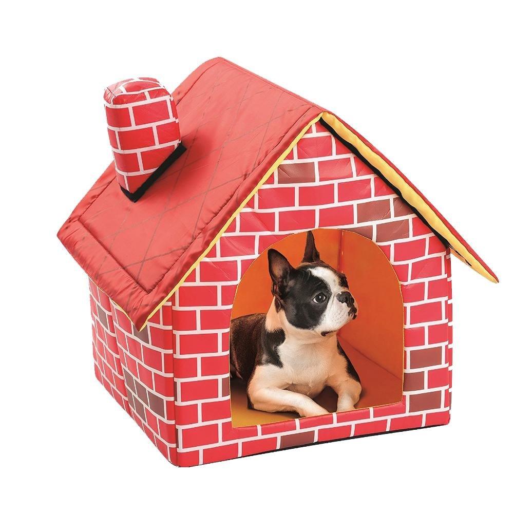 2 dans 1 maison de chien et de lit de chien de brique rouge, nid d'animal familier mou chaud pliable antidérapant de chiot de chat, lit de chien démontable et lavable Hjuns