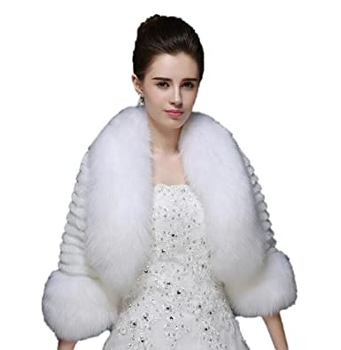 bf10755e9c1e3 Kelaixiang Off-White Faux Fur Shawls Bride Long Sleeves Outwear ...