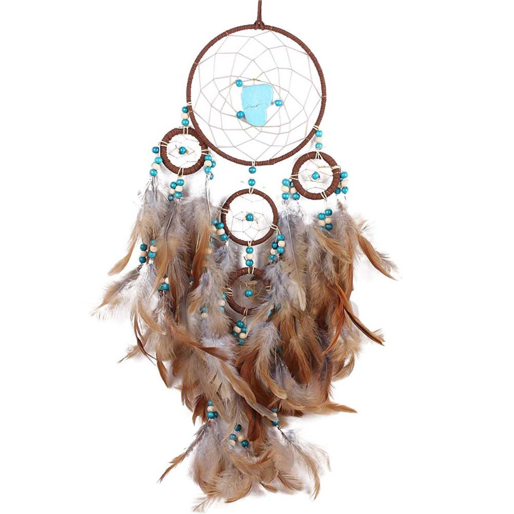 BUYITNOW Turquoise Feather Dream Catcher Indian 23.6'' Long 5 Circles Wall Hanging Dreamcatcher