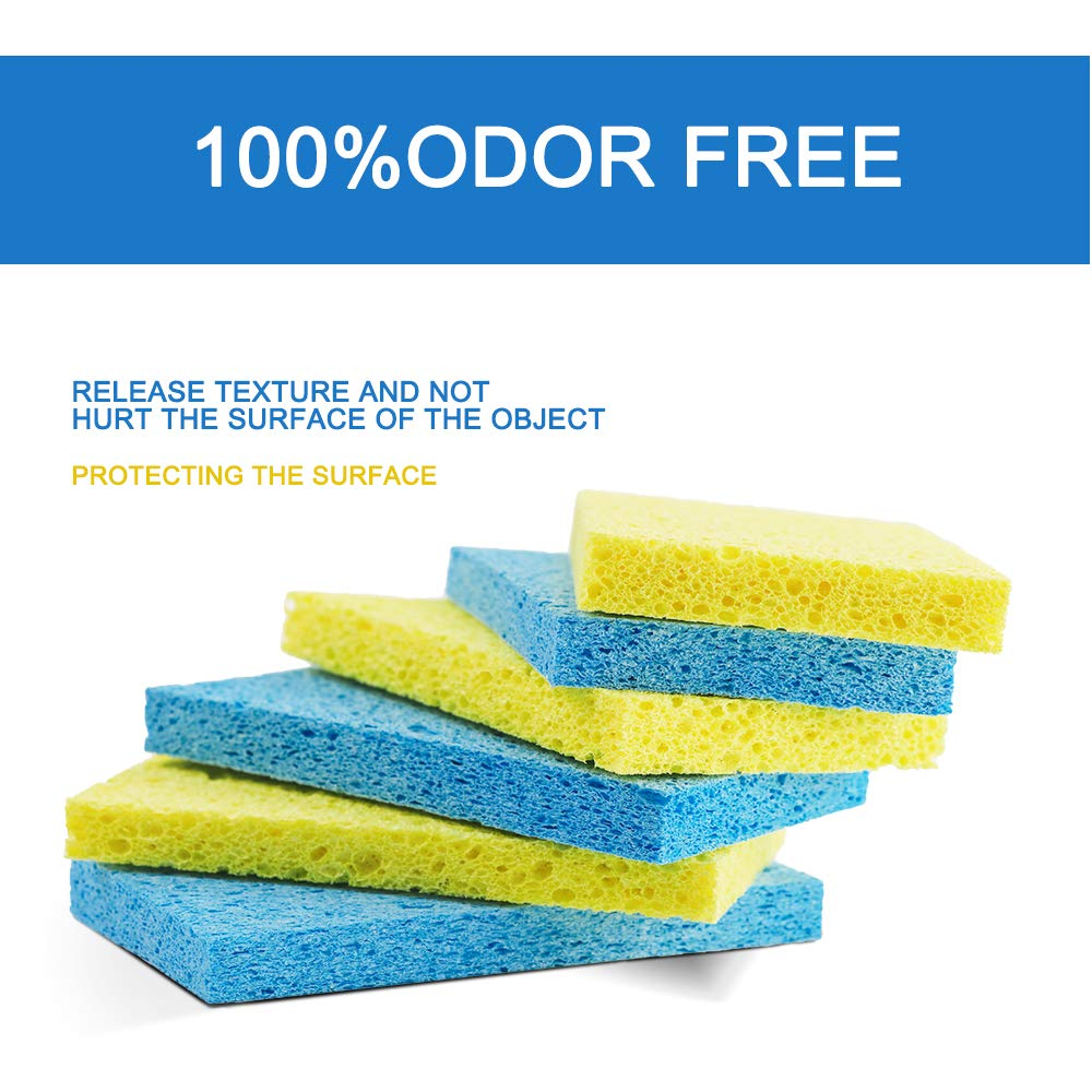 Mastertop 16PCS/Pack Cellulose Cleaning Scrub Sponge for Kitchen Multifunctional Dishwashing Sponges Yellow and Blue by Mastertop (Image #2)