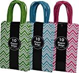 30 Petite Gift Bags Chevron Design - Bright Colored White with Green, Teal and Pink Birthday Present Wedding Boutique Shopping All Occasion by Kraft King