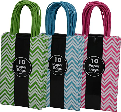 30 Petite Gift Bags Chevron Design - Bright Colored White with Green, Teal and Pink Birthday Present Wedding Boutique Shopping All Occasion by Kraft King by Kraft King