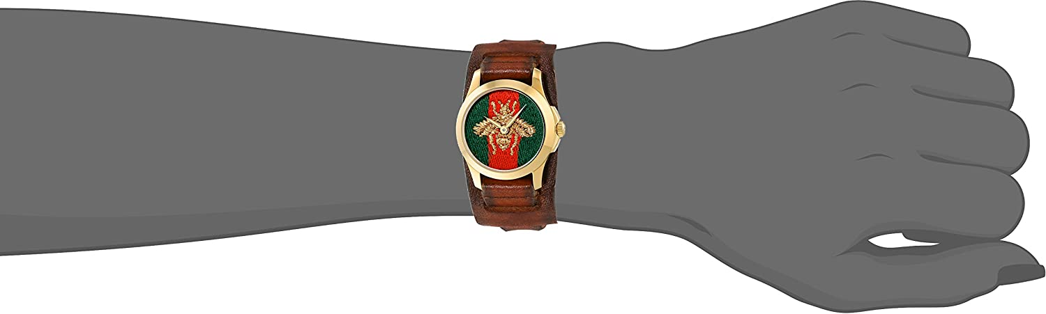 3481a7c3a6d Gucci G-Timeless Green and Red Nylon Dial Ladies Watch YA126547  Gucci   Amazon.ca  Watches