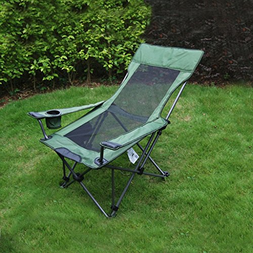 ng chair fishing chair portable sit dual purpose chair bed camping beach chair (Color : Green2) ()
