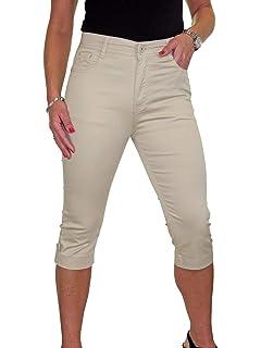 Ladies High Waist  Stretch Denim Jeans Roll Up Cuff 12-22