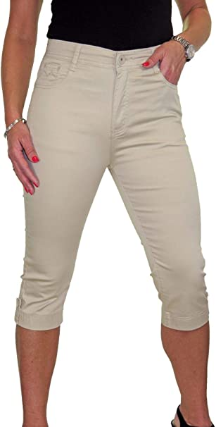 Womens High Waist Capri 3//4 Length Stretch Jeans Chino Sheen NEW 10-20
