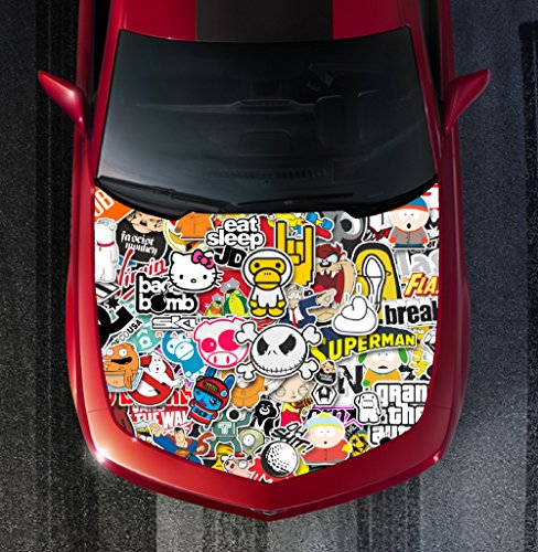 Avery H115 STICKER BOMB - HOOD WRAP - Wraps Decal Sticker Tint Vinyl Image Graphic Carbon Print Laminated Printed Fiber