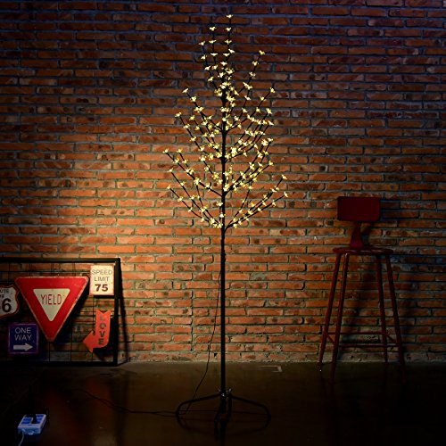 Excelvan 1.5M/5FT 180 LEDs Cherry Blossom Tree Light with Warm White Light Black Branches for Home Festival Party Bar Wedding Indoor Outdoor Decoration  (Wedding Tree Branches)