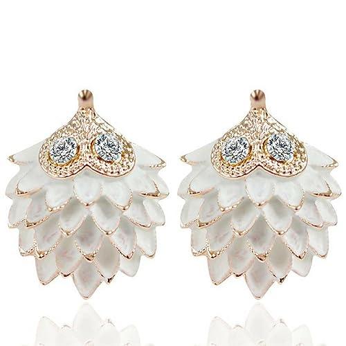 71f27ddb9 Amazon.com: Statement Earrings: Unique White & Gold Hedgehog Earring ...