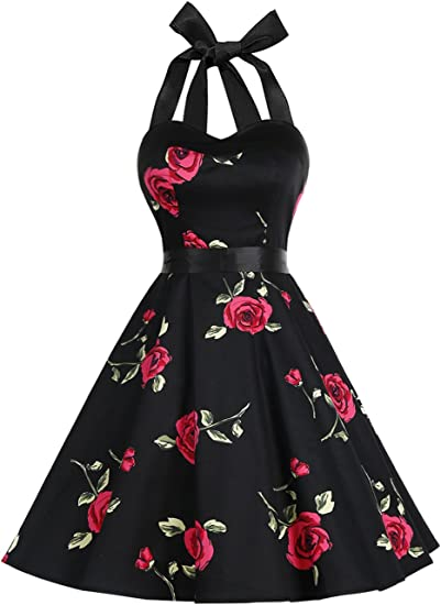 TALLA M. Dresstells® Halter 50s Rockabilly Polka Dots Audrey Dress Retro Cocktail Dress Redflower M