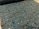 ダブルガーゼ 電球ネコ ブルー コットンこばやし|服地|Wガーゼ|生地|布地|