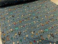 ダブルガーゼ 電球ネコ ブルー コットンこばやし|服地|Wガーゼ|生地|布地|の商品画像